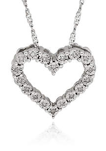 .05 ct. t.w. Diamond Heart Pendant in Sterling Silver