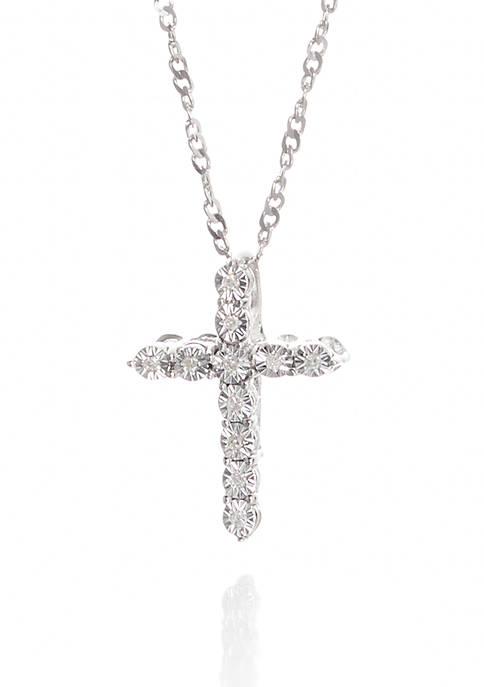 0.033 ct. t.w. Diamond Cross Pendant in Sterling Silver