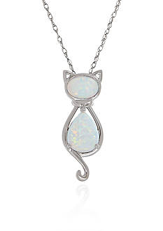 Belk & Co. Created Opal Pendant Necklace in Sterling Silver