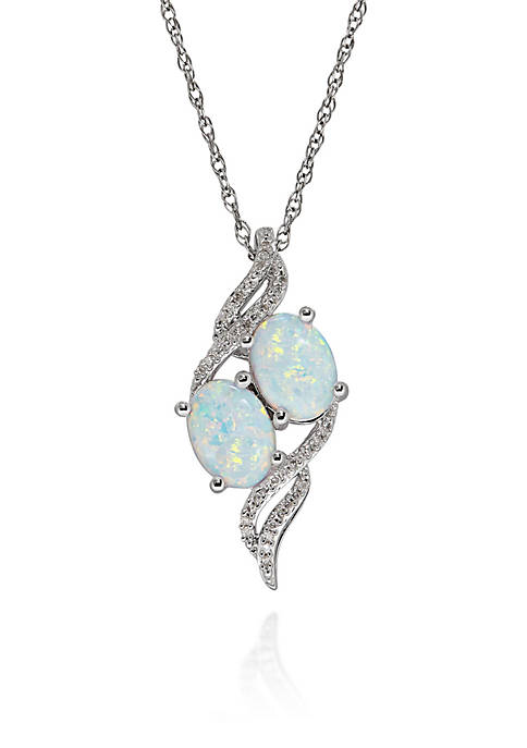 Opal and Diamond Pendant in Sterling Silver