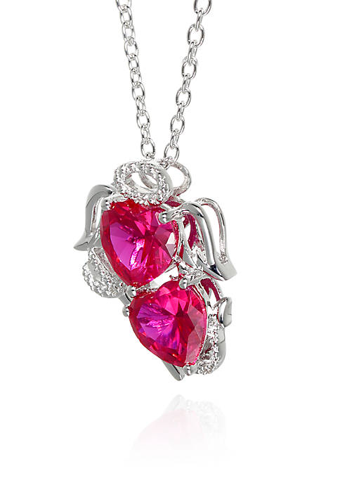 Created Ruby Angel and Devil Pendant in Sterling Silver