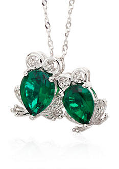 Belk & Co. Created Emerald & Diamond Frog Pendant in Sterling Silver