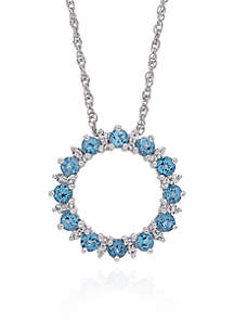 Blue & White Topaz Open Circle Pendant in Sterling Silver