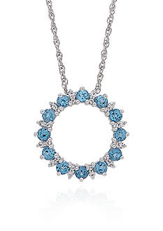 Belk & Co. Blue & White Topaz Open Circle Pendant in Sterling Silver