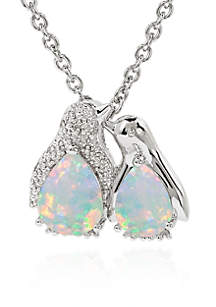 Created Opal and Diamond Penguin Pendant Necklace in Sterling Silver