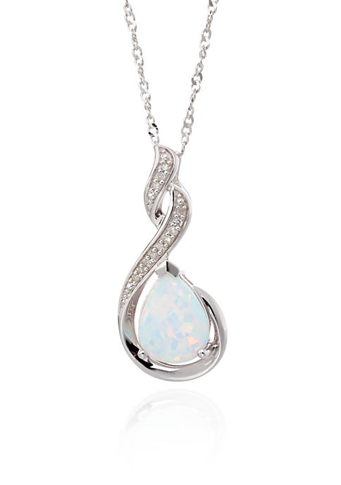 Created Opal & Diamond Pendant in Sterling Silver