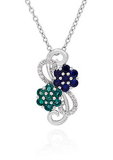 Belk & Co. Created Multi Stone Flower Pendant in Sterling Silver