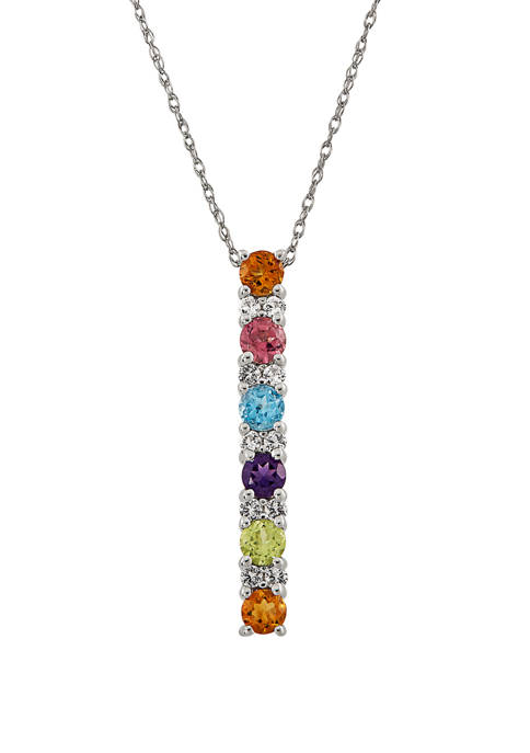 Belk & Co. Multi Stone Pendant Necklace in