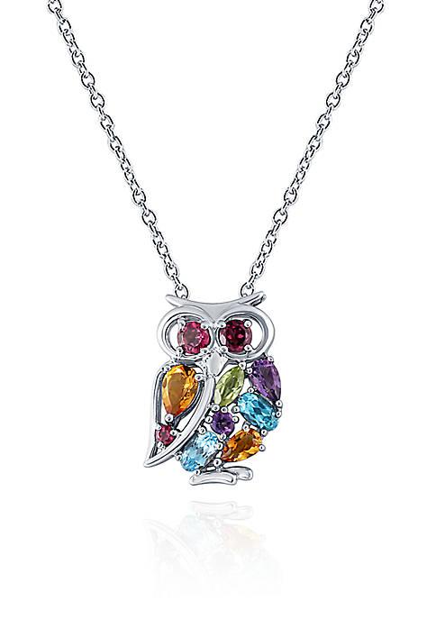 Belk & Co. Multi Semi Precious Owl Pendant
