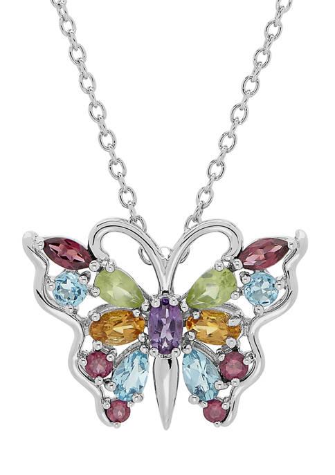 Multi-Stone Butterfly Pendant in Sterling Silver