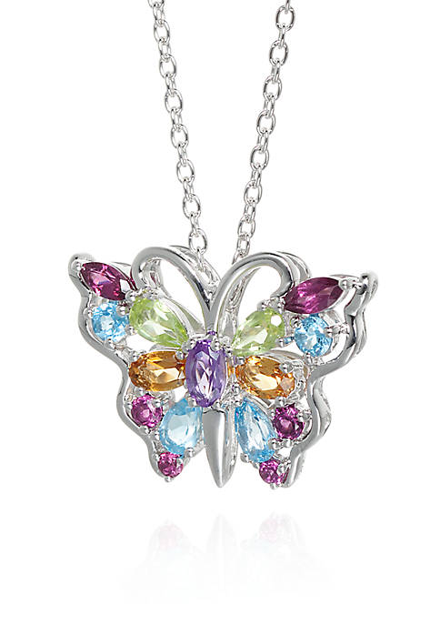 Belk & Co. Multi-Stone Butterfly Pendant in Sterling