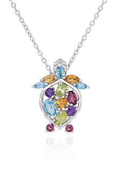Belk & Co. Multi Stone Turtle Pendant in Sterling Silver