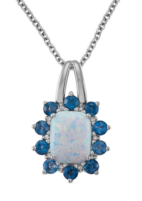 Diamond Accent, Created Opal, and London Blue Topaz Pendant Necklace in Sterling Silver