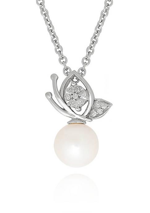 Freshwater Pearl Butterfly Pendant in Sterling Silver