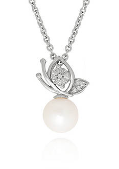 Belk & Co. Freshwater Pearl Butterfly Pendant in Sterling Silver