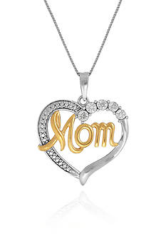 Belk & Co. 0.015 ct. t.w. Diamond Mom Pendant with 14k Gold Plating in Sterling Silver