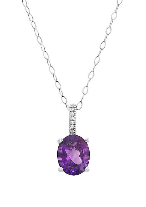 2.34 ct. t.w. Amethyst and 1/10 ct. t.w. Diamond Oval Pendant Necklace in Sterling Silver