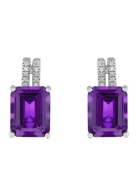1/10 ct. t.w. Diamond and 4.22 ct. t.w. Amethyst  Earrings in Sterling Silver