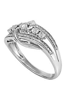 Belk & Co. 0.02 ct t.w Diamond Swirl Ring in Sterling Silver