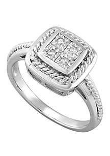 Belk & Co. 0.05 ct t.w. Diamond Braided Square Ring in Polished Sterling Silver