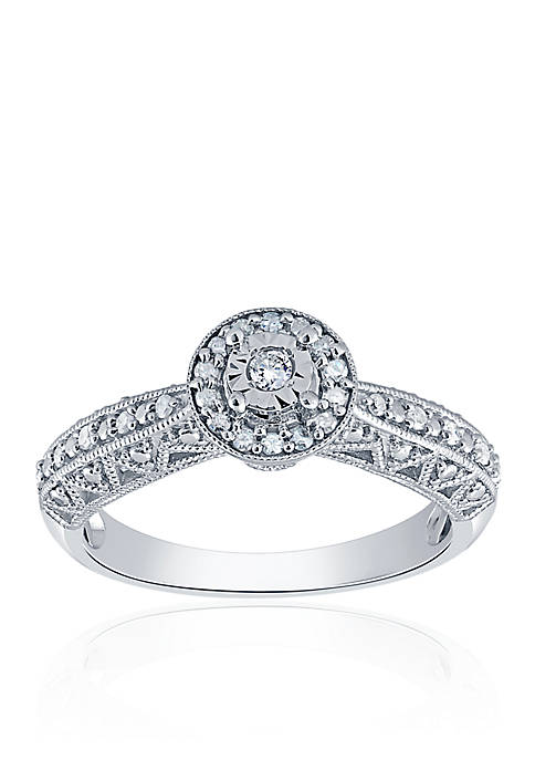 1/5 ct. t.w. Diamond Round Illusion Ring in Sterling Silver
