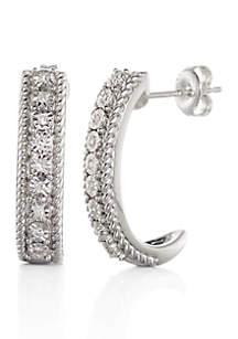 Diamond J-Hoop Earrings in Sterling Silver