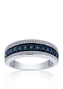 1/10 ct. t.w. Diamond Blue Illusion Band Ring in Sterling Silver