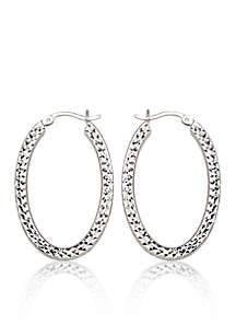 Caged Hoop Earrings in Sterling Silver