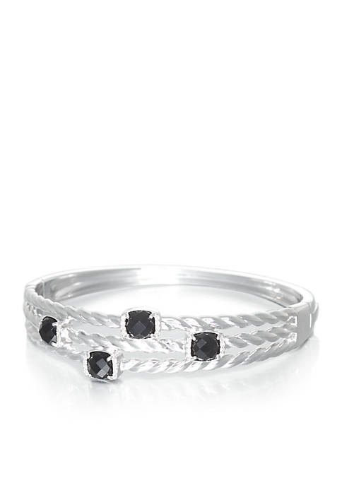 Belk & Co. Onyx and Diamond Bangle in