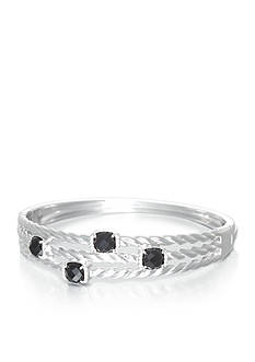 Belk & Co. Onyx and Diamond Bangle in Sterling Silver
