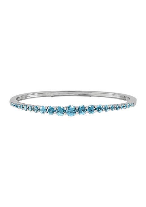 Swiss Blue Topaz Bangle Bracelet in Sterling Silver