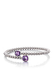 Belk & Co. Purple Amethyst and Diamond Bypass Cuff Bracelet in Sterling Silver