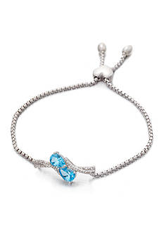 Belk & Co. Blue Topaz and Diamond Bolo Bracelet in Sterling Silver