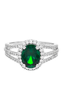 1.76 ct. t.w. Created Emerald And Created White Sapphire Oval Ring in Sterling Silver