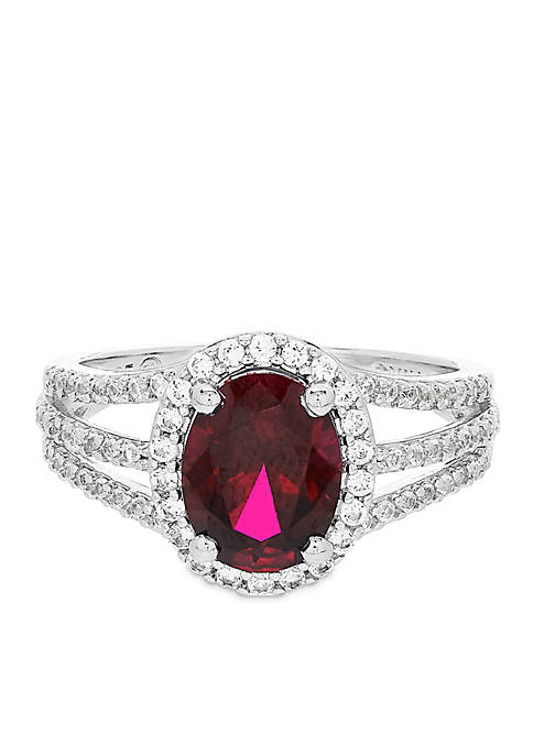 2.0 ct. t.w. Created Ruby and Created White Sapphire Oval Ring in Sterling Silver