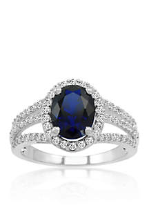 Created Sapphire & Created White Sapphire Ring in Sterling Silver