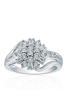 3f6df1181 Belk & Co. 1/10 ct. t.w. Diamond Cluster Ring in Sterling Silver ...