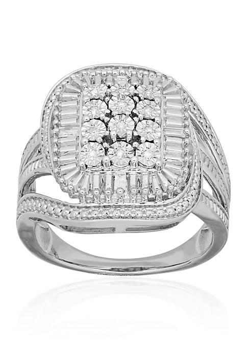 Belk & Co. Diamond Rectangle Ring in Sterling