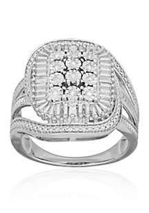 Diamond Rectangle Ring in Sterling Silver