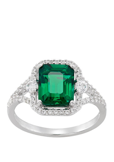 Emerald and White Sapphire Ring in Sterling Silver
