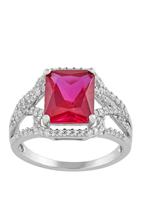 Ruby and White Sapphire Ring in Sterling Silver