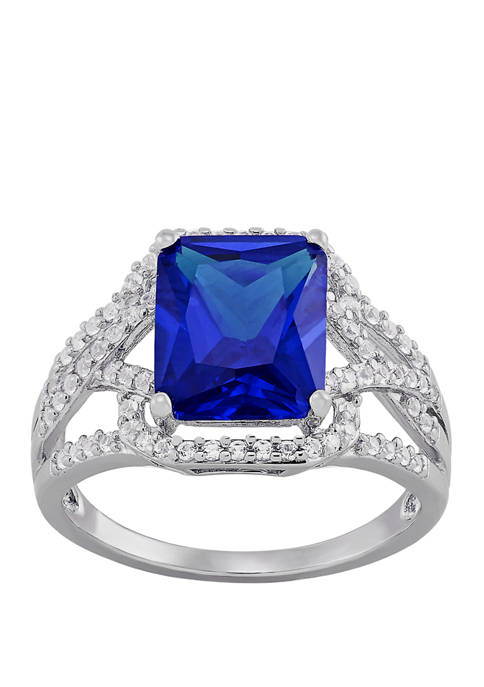4.3 ct. t.w. Blue and White Sapphire Ring in Sterling Silver