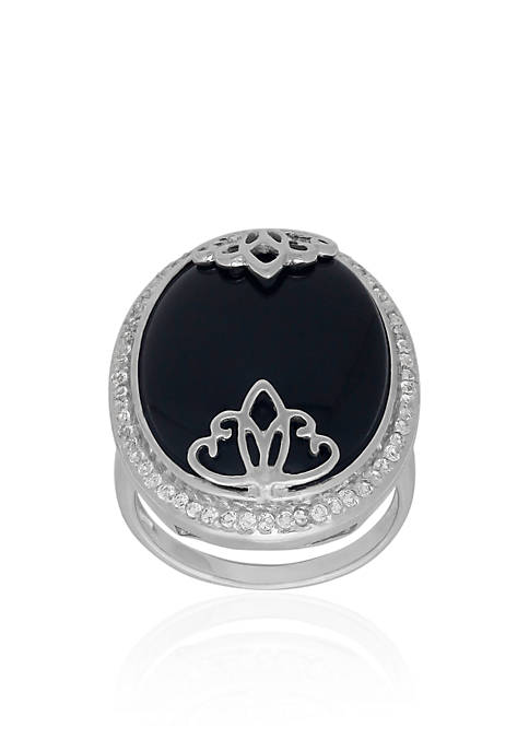 Belk & Co. Onyx Overlay Ring in Sterling