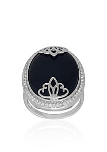 Onyx Overlay Ring in Sterling Silver
