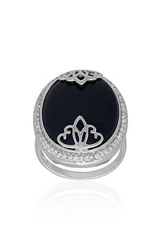 Belk & Co. Onyx Overlay Ring in Sterling Silver