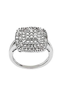 1 ct. t.w. Diamond Cushion Statement Ring in Sterling Silver
