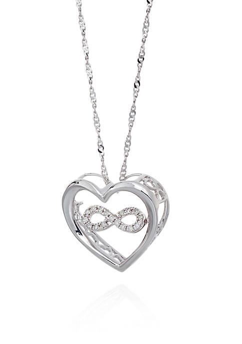 Diamond Infinity Symbol in Heart Pendant in Sterling Silver