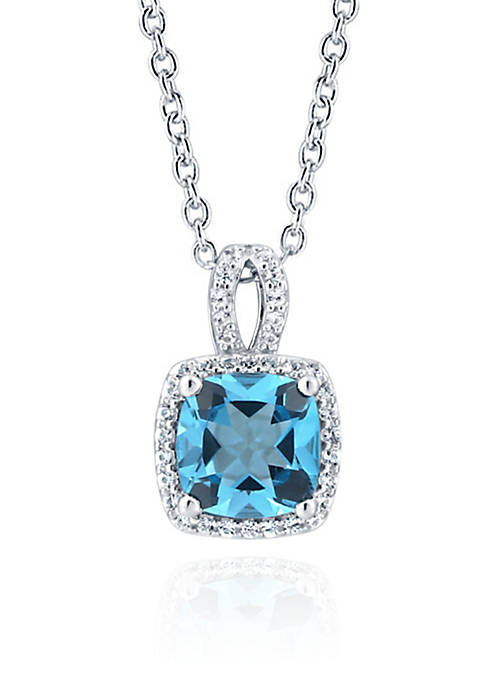 Blue Topaz and Sapphire Pendant Necklace in Sterling Silver