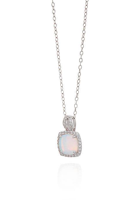 Belk & Co. Opal and White Sapphire Pendant