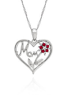 Belk & Co. Created Ruby and Sapphire Mom Flower Pendant Necklace in Sterling Silver
